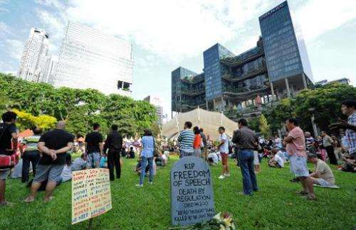 More than 2,000 people protested against Singapore's online licensing rules during a rally at Speakers' Corner on June 8, 2013