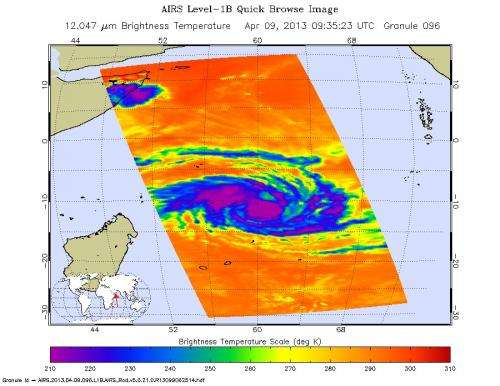 NASA infrared image identifies several areas of power in Cyclone Imelda