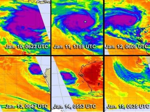 NASA satellites see Cyclone Narelle torn apart