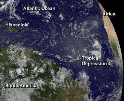 NASA sees newborn eastern Atlantic tropical depression