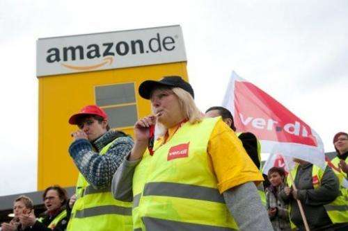 Striking Amazon workers near the company's logistics centre in Bad Hersfeld, Germany, on May 14, 2013