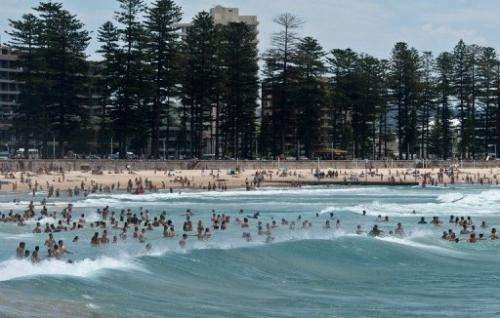 Sydneysiders and tourists cool off as they swim in the sea at Manly beach in Sydney on January 8, 2013