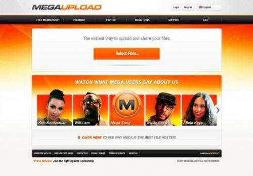 The home page of Megaupload.com is shown January 20, 2012