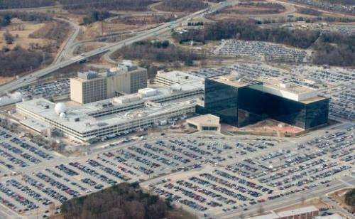 The National Security Agency headquarters at Fort Meade, Maryland, are seen on January 29, 2010