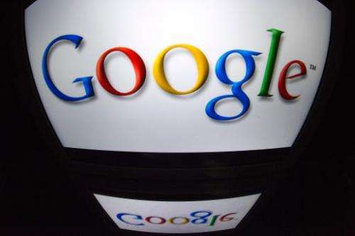 """The """"Google"""" logo is seen on a screen on December 4, 2012 in Paris"""