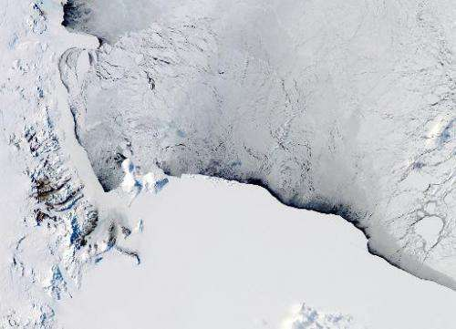 This NASA Aqua satellite image shows a view of the Western Ross Sea and Ice Shelf, Antarctica, pictured on October 16, 2012