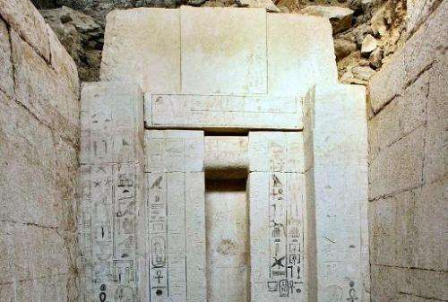 A picture taken on October 22, 2013 shows Egyptian hieroglyphics on a 4,000 year old tomb which was discovered by archaeologists