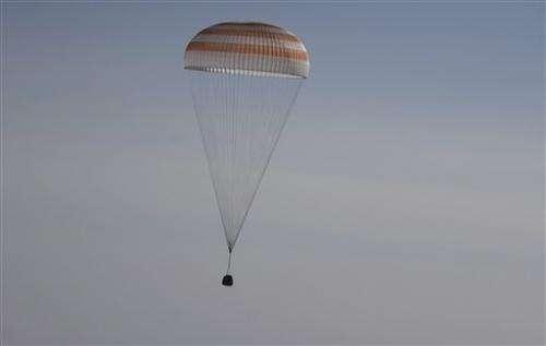 Soyuz capsule returns from space station