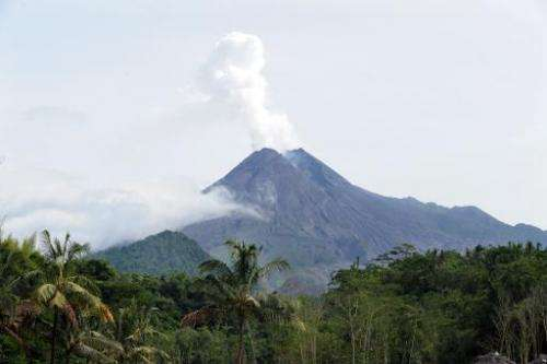 This file photo shows the mount Merapi volcano in Sleman, Yogyakarta, during an eruption on January 30, 2011