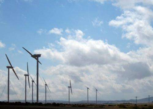 Picture taken on November 29, 2011 of wind turbines in northern Ethiopia