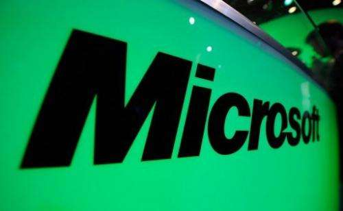 The Microsoft logo is seen at the Electronic Entertainment Expo on June 7, 2011 in Los Angeles, California
