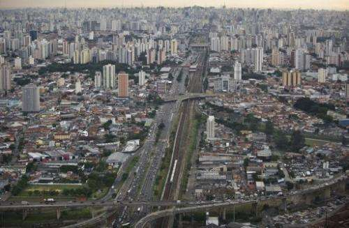 Aerial view of Radial Leste Avenue in Sao Paulo, Brazil, on April 4, 2013