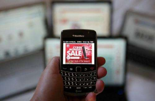 An advertisement for a sale is displayed on a BlackBerry on November 29, 2010 in San Anselmo, California