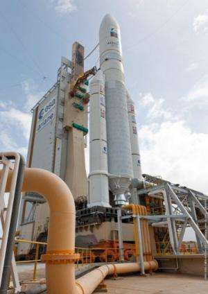 An Ariane 5 rocket sits on the launch pad at the European space centre of Kourou, French Guiana, on on February 6, 2013