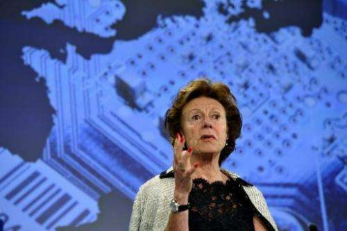 EU commissioner for Digital Agenda Neelie Kroes, speaks on May 23, 2013 at the EU Headquarters in Brussels