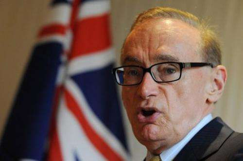 File photo of Australian Foreign Minister Bob Carr in Beijing in May 2012