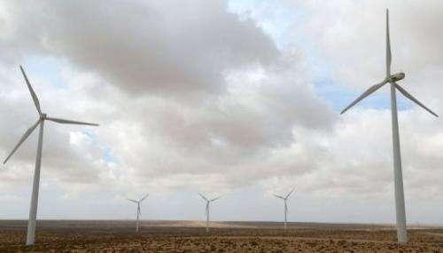 Wind turbines are pictured in Morocco's Tarfaya wind farm on May 14, 2013
