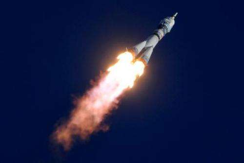 A Russian Soyuz spacecraft carrying Japanese astronaut Koichi Wakata, Russian cosmonaut Mikhail Tyurin and US astronaut Rick Mas