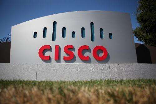 A sign is posted in front of the Cisco Systems headquarters on August 10, 2011 in San Jose, California