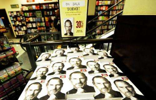 """File picture from New York shows a biography of Apple co-founder Steve Jobs whose boyhood home has been designated an """"hist"""