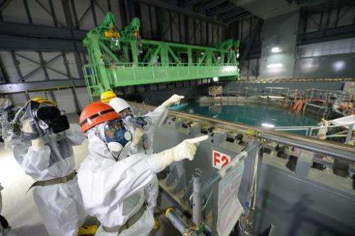Fukushima Governor Yuhei Sato (2nd L) inspects the spent fuel pool in the unit 4 reactor building of the Fukushima nuclear power