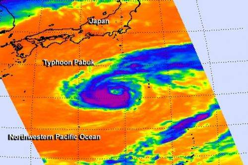 NASA sees Typhoon Pabuk's veiled eye
