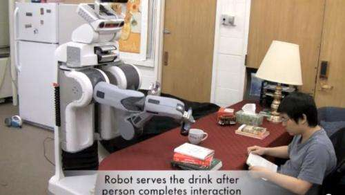 Beer-pouring robot programmed to anticipate human actions (w/ Video)