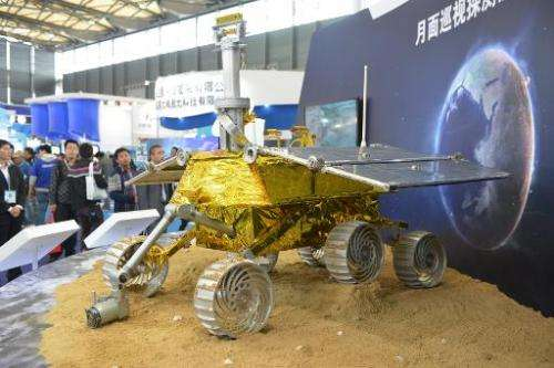 "Photo taken on November 5, 2013 shows a model of ""Jade Rabbit"" at the China International Industry Fair 2013 in Shangh"