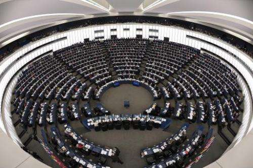 File photo shows members of the European Parliament taking part in a voting session at the European Parliament in Strasbourg, ea