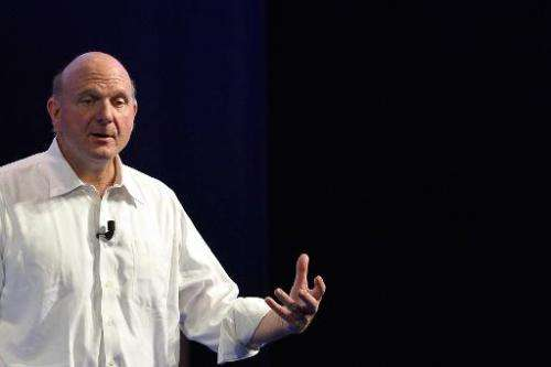 """Microsoft CEO Steve Ballmer speaks during the conference """"Building the Vision"""" held in Rome on November 5, 2013"""