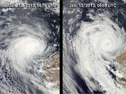 NASA sees Tropical Storm Narelle winding down near western Australia