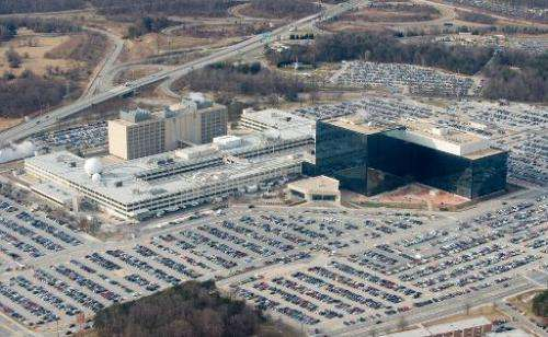 The National Security Agency (NSA) headquarters at Fort Meade, Maryland, as seen from the air, January 29, 2010