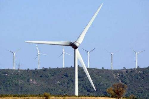 Wind turbines near Lezignan, southern France on September 16, 2012