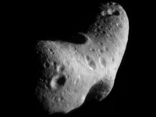 A close-up view of the asteroid Eros on January 31, 2012