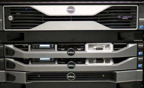 A Dell Precision R5500 Rack-mounted workstation at the world's biggest high-tech fair, the CeBIT, on March 6, 2012