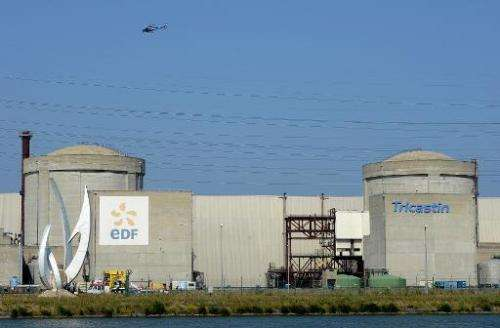 A helicopter flies over Areva's Tricastin nuclear power plant in Pierrelatte, north of Marseille, on July 15, 2013