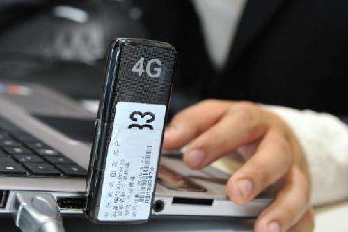 A laptop equiped with 4G wireless technology by Chinese telecoms equipment provider ZTE Corporation is pictured on June 27, 2011