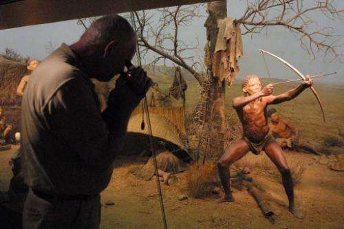 A museum exhibit depicting the way of life of hunter-gatherers, on display in Cape Town on March 31, 2001