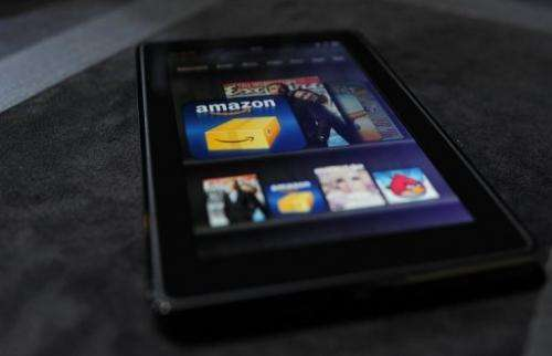 An Amazon Kindle Fire tablet is displayed at a press conference in New York on September 28, 2011