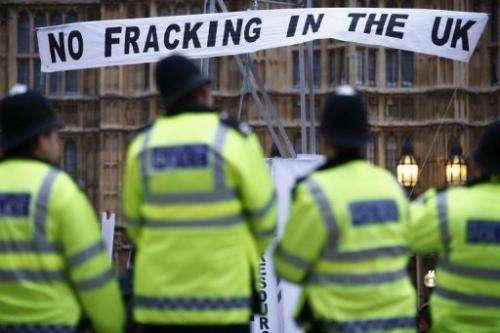 An anti-fracking demonstration outside the Houses of Parliament in London on December 1, 2012