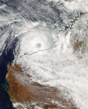 A NASA satellite image of cyclone Rusty closing in on the northwestern coast of Western Australia, February 26, 2013