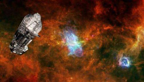 An undated image shows a superimposed picture of the ESA's Herschel space observatory