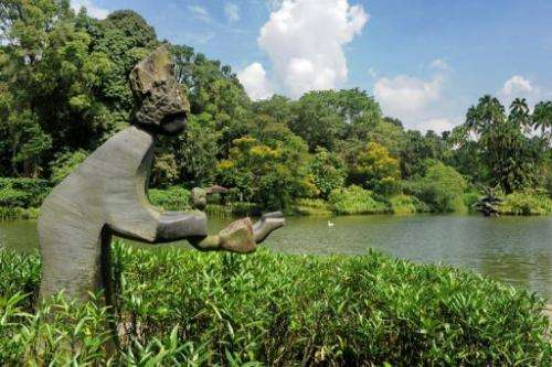 A sculpture next to the lake at the Botanic Gardens in Singapore on April 2, 2013