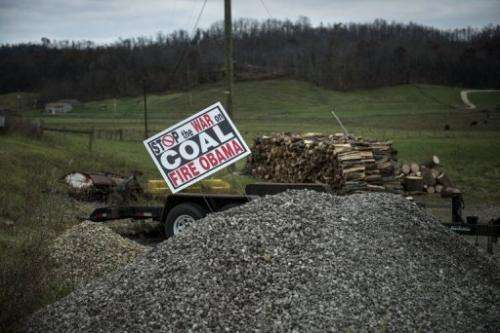 A sign against Barack Obama's alleged position against the coal mining industry on November 5, 2012 in Quaker City, Ohio
