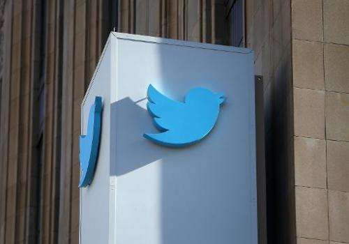 A sign outside Twitter's headquarters on October 25, 2013 in San Francisco