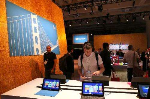 Attendees look at products during the Microsoft Build Conference on June 26, 2013 in San Francisco, California
