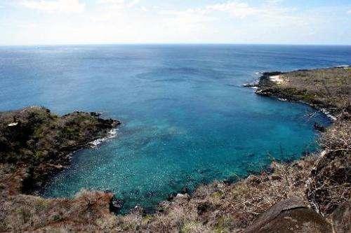 A view of Tijeretas Bay on San Cristobal Island in the Galapagos archipelago, Ecuador, taken on May 23, 2006