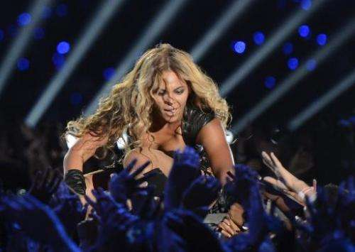 Beyonce performs during the Super Bowl XLVII Halftime Show at the Mercedes-Benz Superdome on February 3, 2013 in New Orleans, Lo