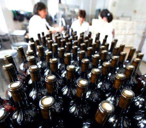 Bottles move along a conveyor belt towards the packing bay at a wine factory in Lilo near Tbilisi, on June 20, 2013
