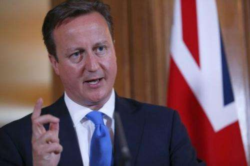 Britain's Prime Minister David Cameron speaks in London on July 17, 2013